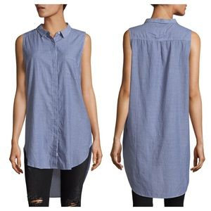 Rails Layla Pinstripe Tunic Top Slate Blue T2